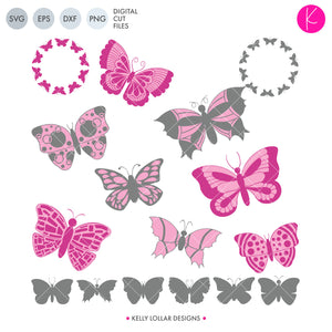Pack of 16 Butterfly svg files with 2 tone, silhouettes and monogram frames