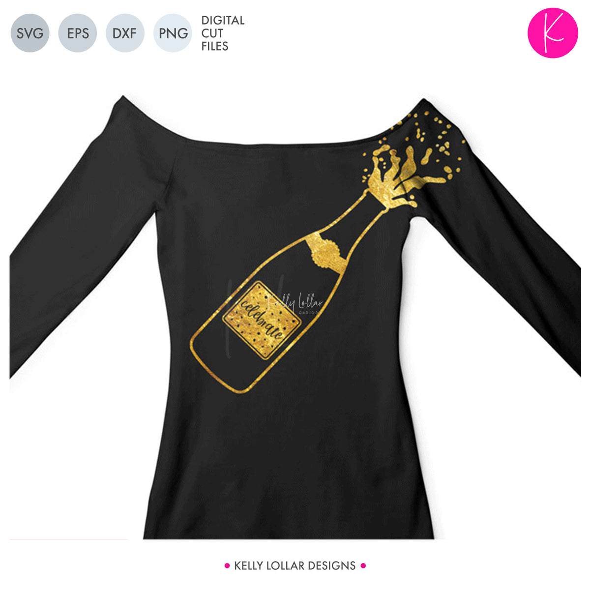 Champagne Bottle | SVG DXF EPS PNG Cut Files