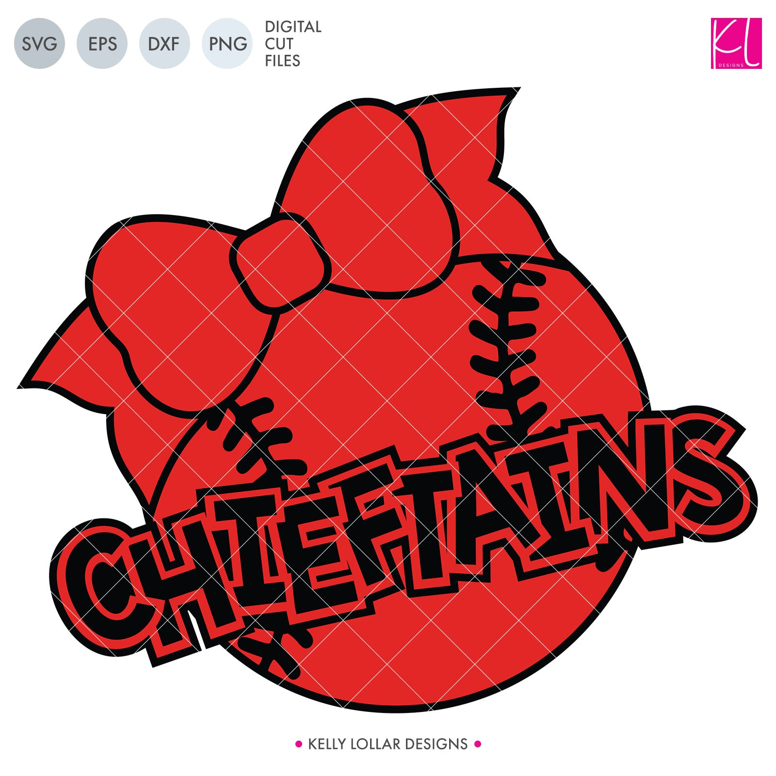 Chieftains Baseball & Softball with Bow | SVG DXF EPS PNG Cut Files Add a little cute to little brother or sister's game day with this adorable bow topped baseball and softball design! Easy to use and perfect for children's spirit shirts. SVG