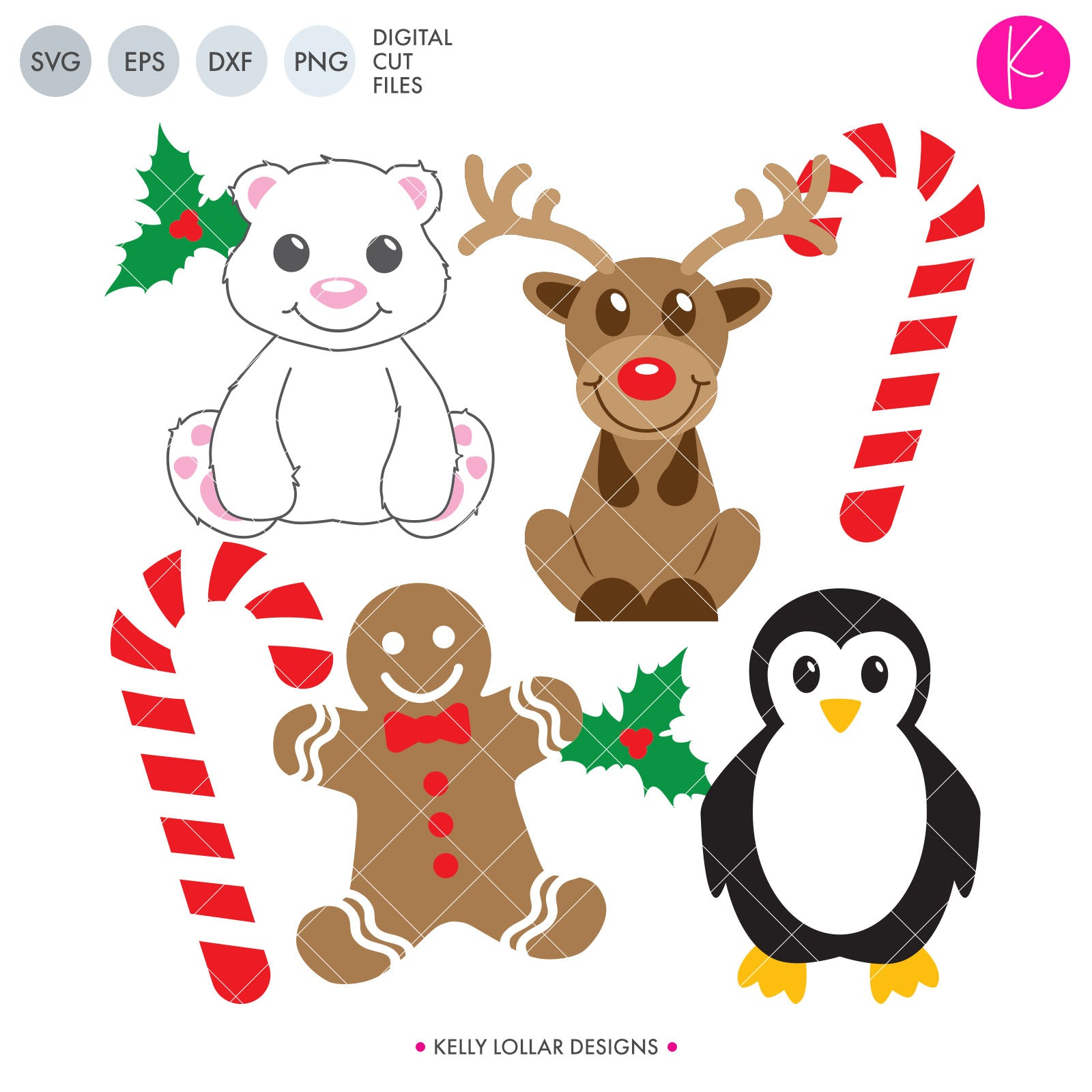Christmas Animals SVG Cut Files Collection of 4 Christmas Themes Animals - Reindeer, Polar Bear, Penguin and Gingerbread Man - to Add to Christmas Shirts and Decor | SVG DXF PNG Cut Files Choose from