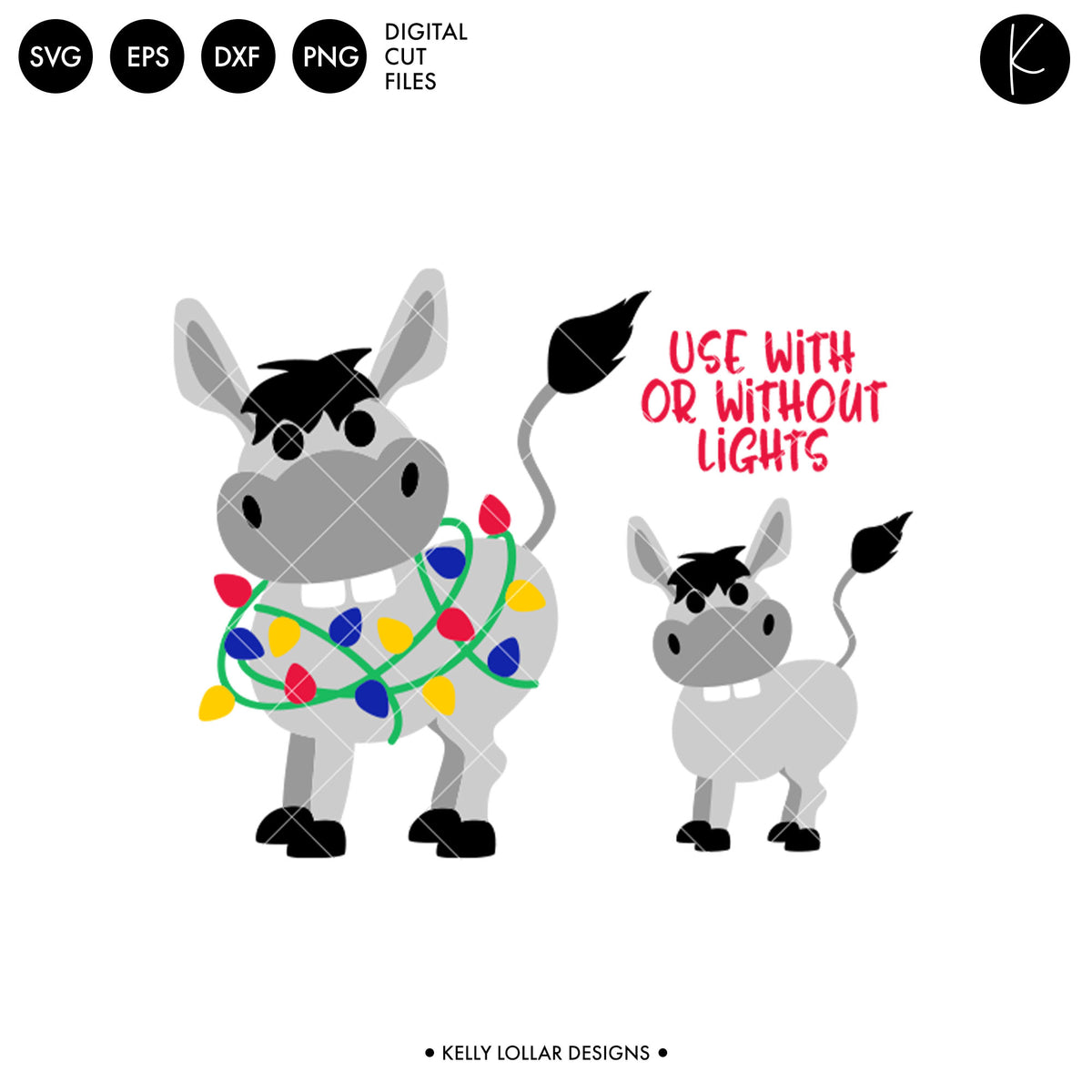Christmas Donkey | SVG DXF EPS PNG Cut Files