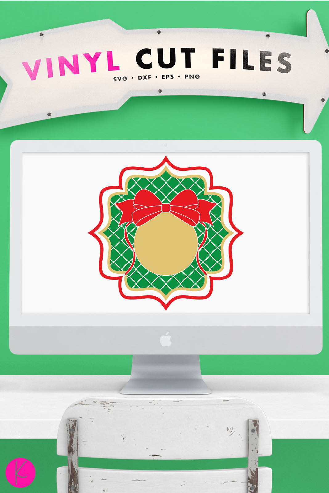 Christmas Ornament Monogram | SVG DXF EPS PNG Cut Files
