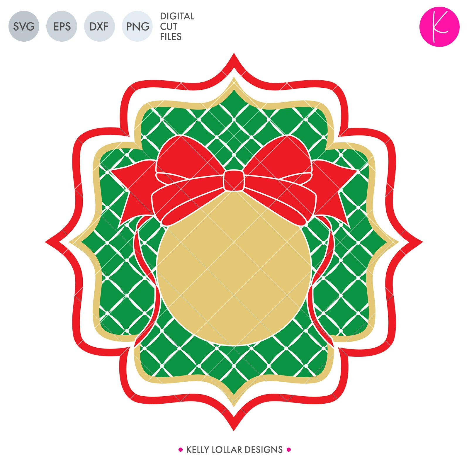 Christmas Ornament Monogram | SVG DXF EPS PNG Cut Files Traditional Style Monogram Frame with Tufted Background and Bow Topped Ornament for Circle Monograms for Christmas Shirts and Home Decor | SVG DXF PNG Cut Files 1 file for each
