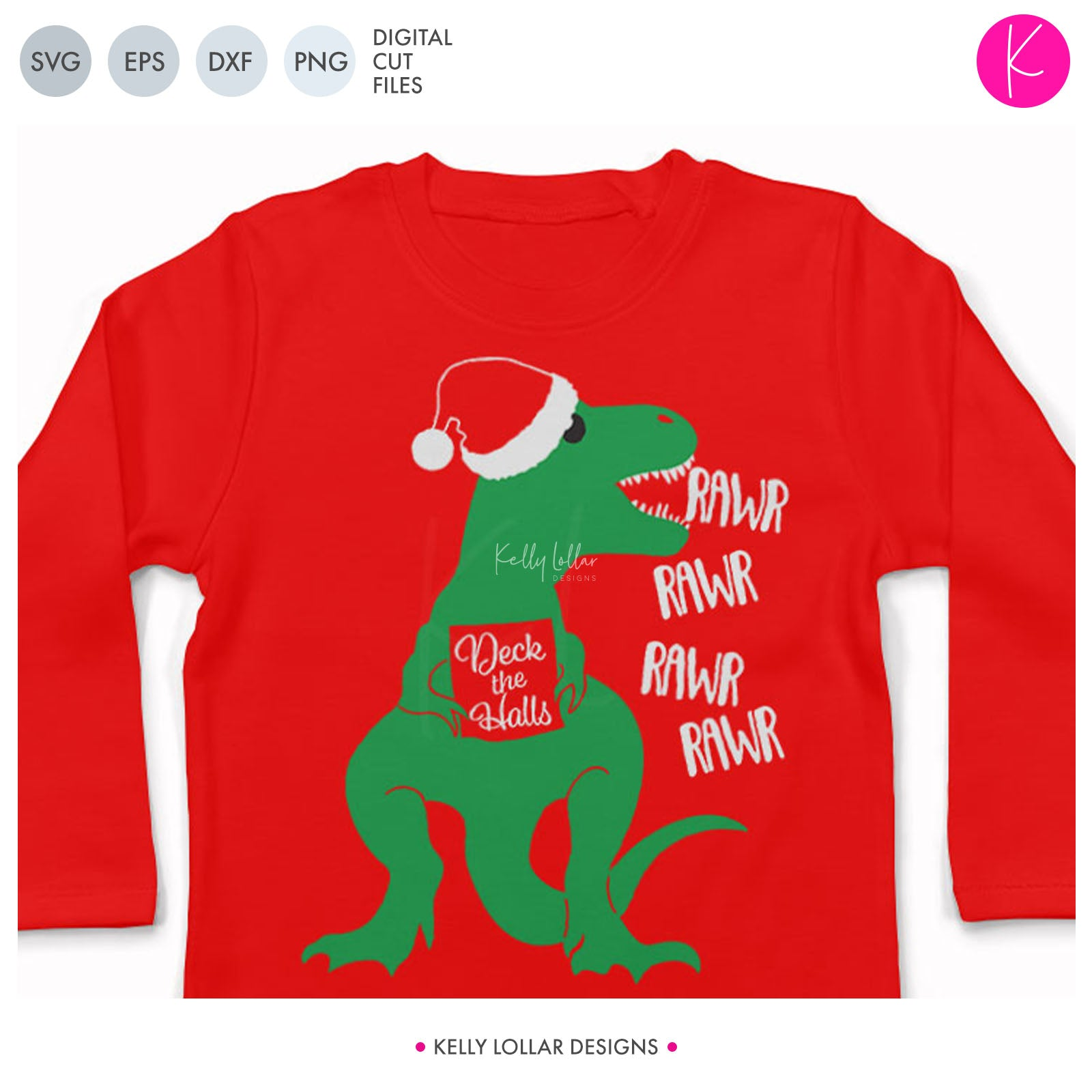 Caroling T-Rex | SVG DXF EPS PNG Cut Files Dinosaur with Santa Hat Singing Deck the Halls for Children's Christmas Shirts | SVG DXF PNG Cut Files 2 files for each format solid hat version knockout hat to use