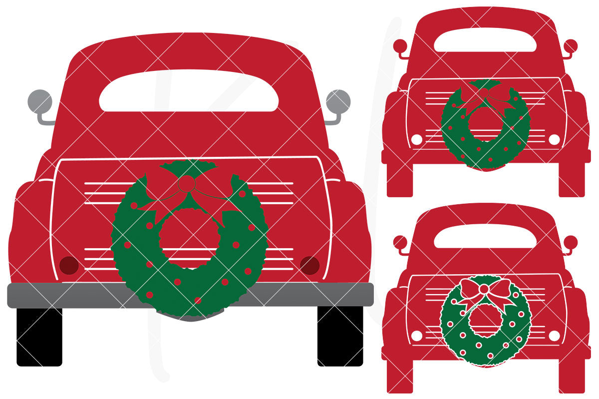 Solid Back View svg pack of the Vintage Red Christmas Truck - 3 versions included