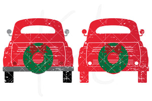 Distressed Back View svg pack of the Vintage Red Christmas Truck - 2 versions included