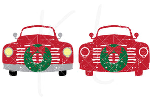 Distressed Front View svg pack of the Vintage Red Christmas Truck - 2 versions included