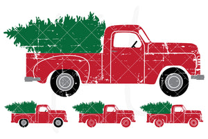 Distressed Side View svg pack of the Vintage Red Christmas Truck - 4 versions included