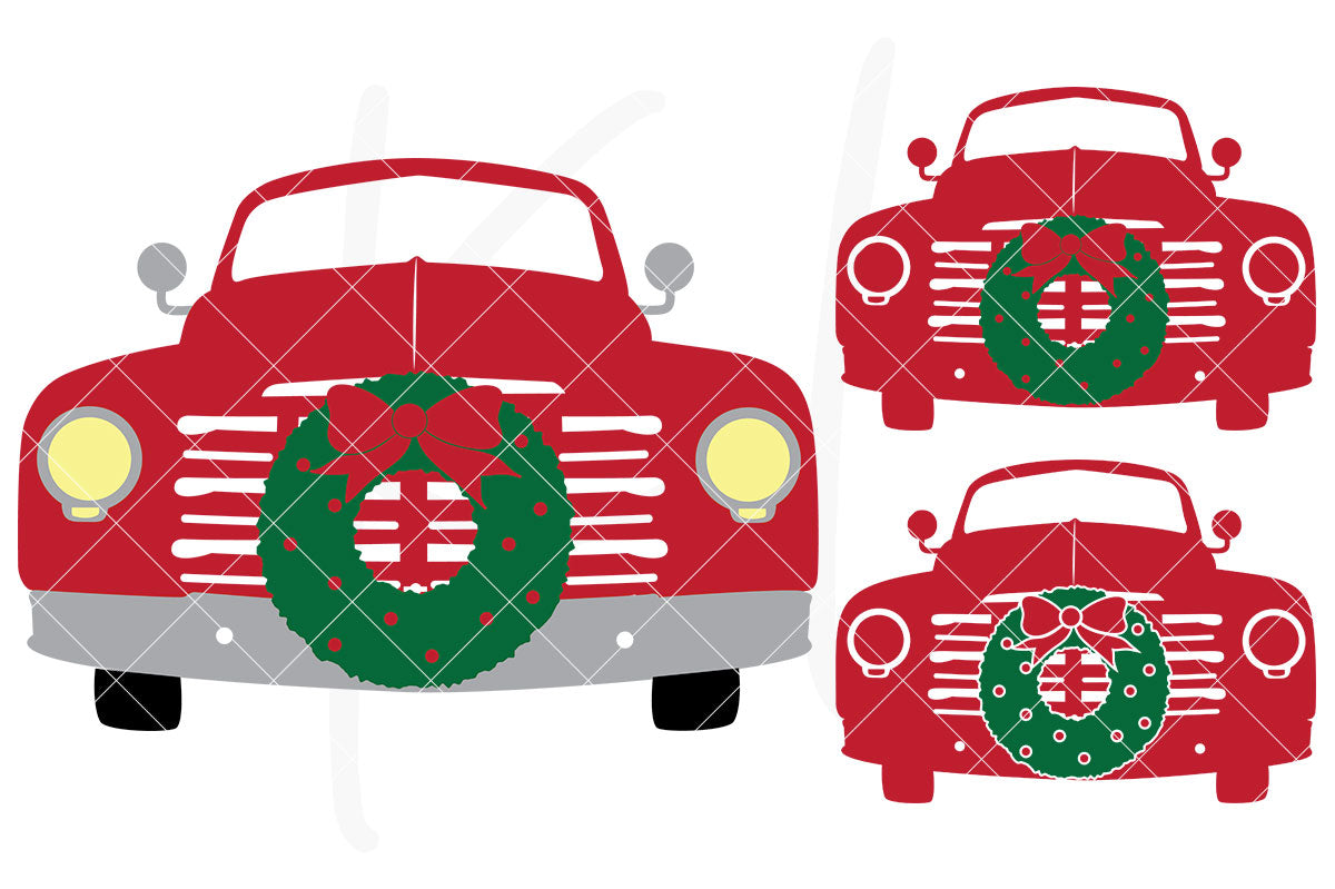 Solid Front View svg pack of the Vintage Red Christmas Truck - 3 versions included