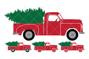 Solid Side View svg pack of the Vintage Red Christmas Truck with four versions included