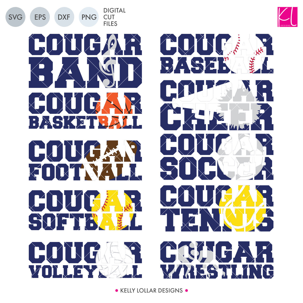 Cougar Sports Pack | SVG DXF EPS PNG Cut Files