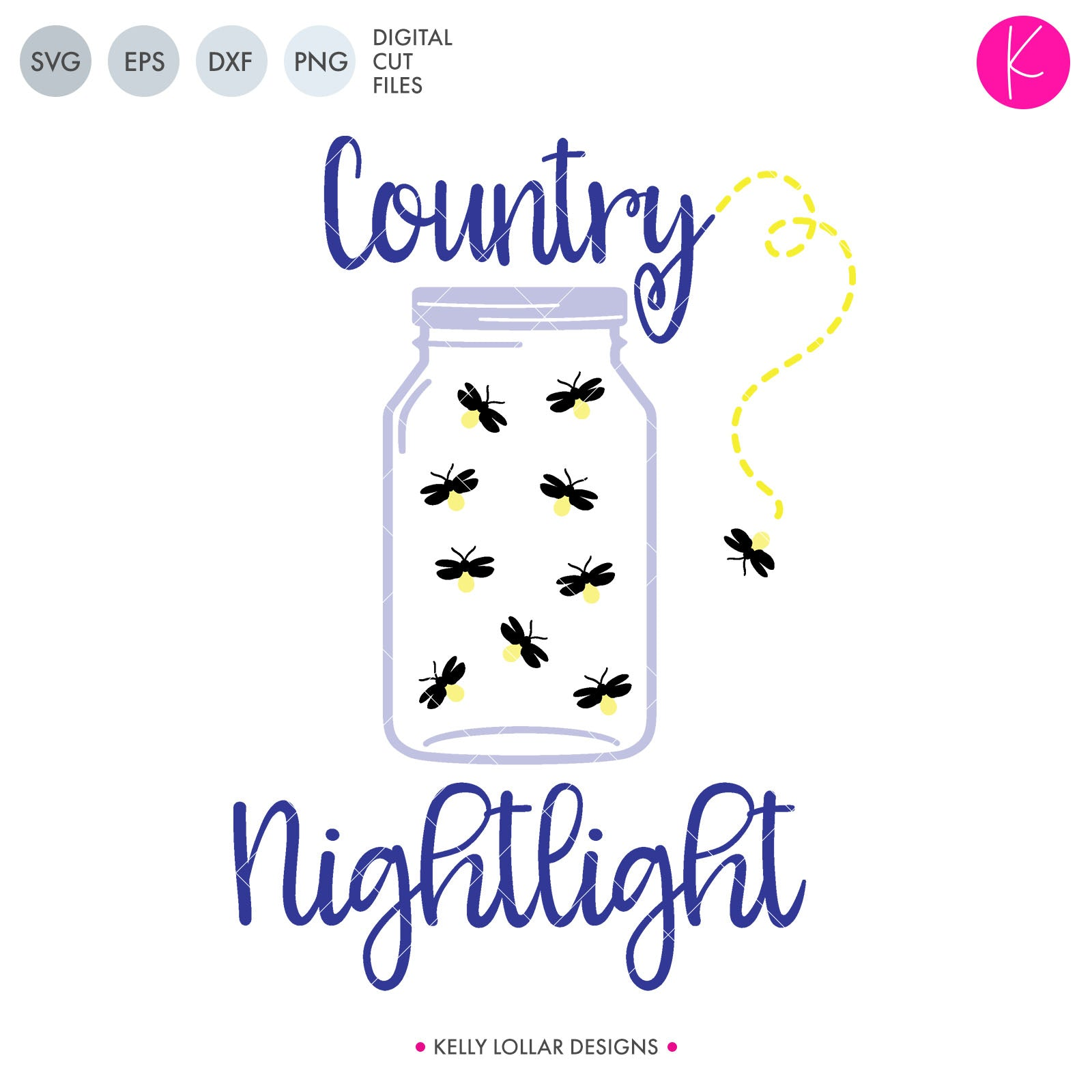 Country Nightlight SVG File - mason jar filled with fireflies