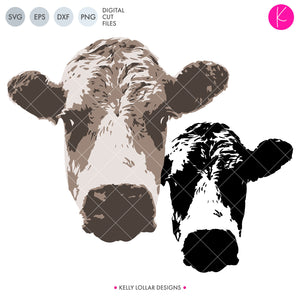 Cow svg files - includes single and tri-color versions