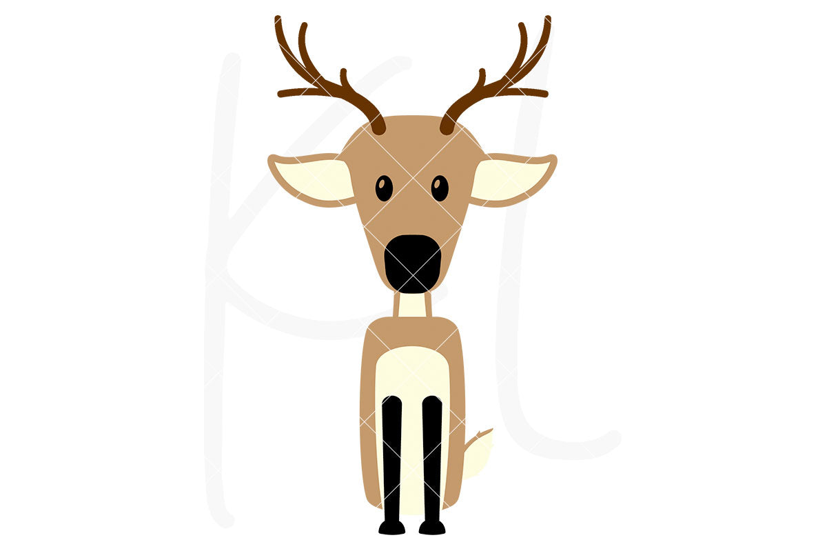 Deer svg file with 3 layers - also part of the Woodland Animal svg bundle