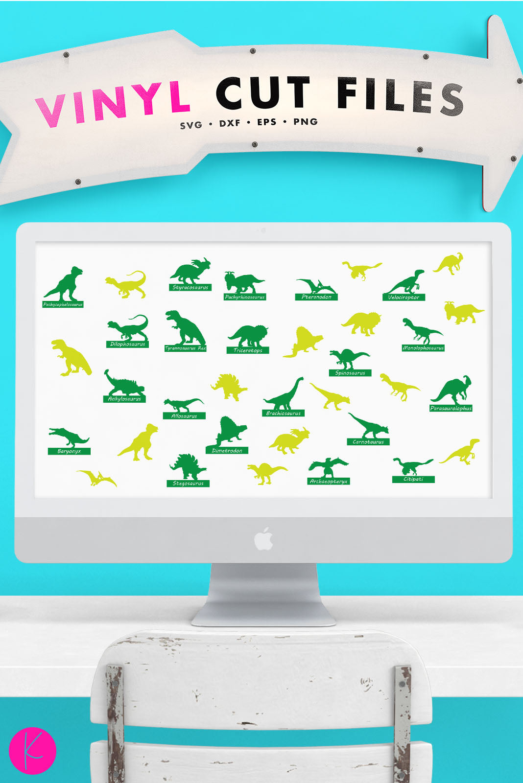Dinosaur Silhouette Pack | SVG DXF EPS PNG Cut Files
