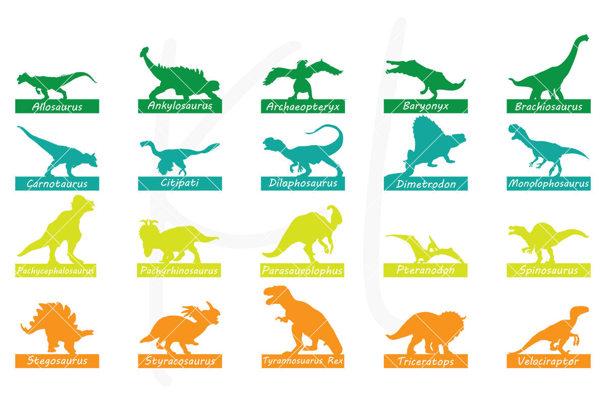 Dinosaur Silhouette SVG Cut File Pack Pack of 20 Dinosaurs with and without Name Plates | SVG DXF PNG Cut Files  40 files for each format 20 plain silhouettes 20 silhouettes with dinosaur name