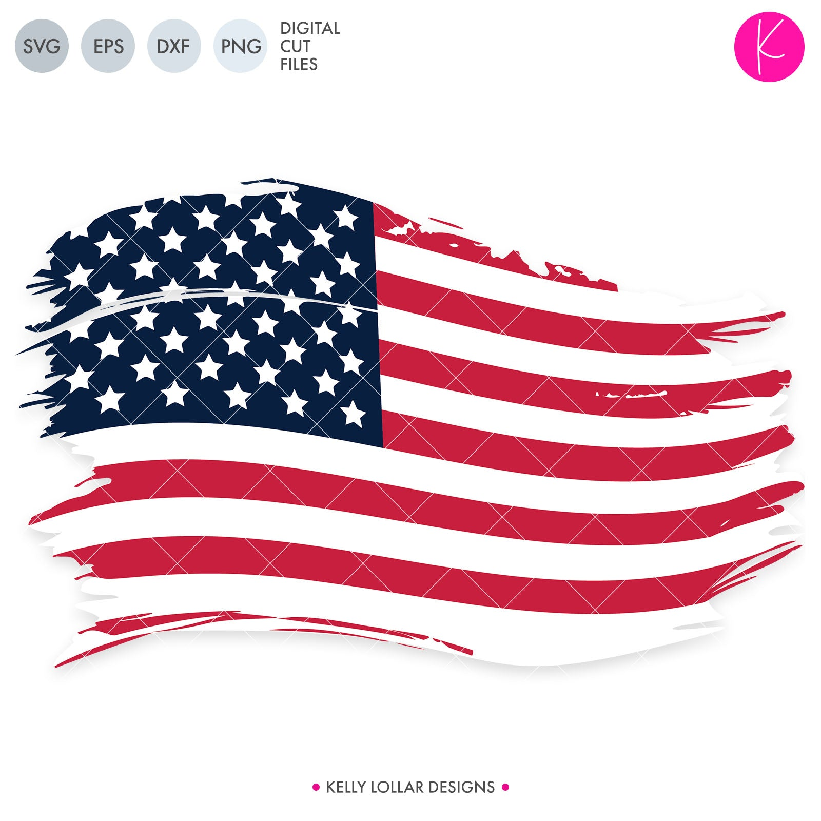 Distressed American Flag svg - Grunge American Flag with Solid Base for Patriotic Designs | SVG DXF PNG Cut Files