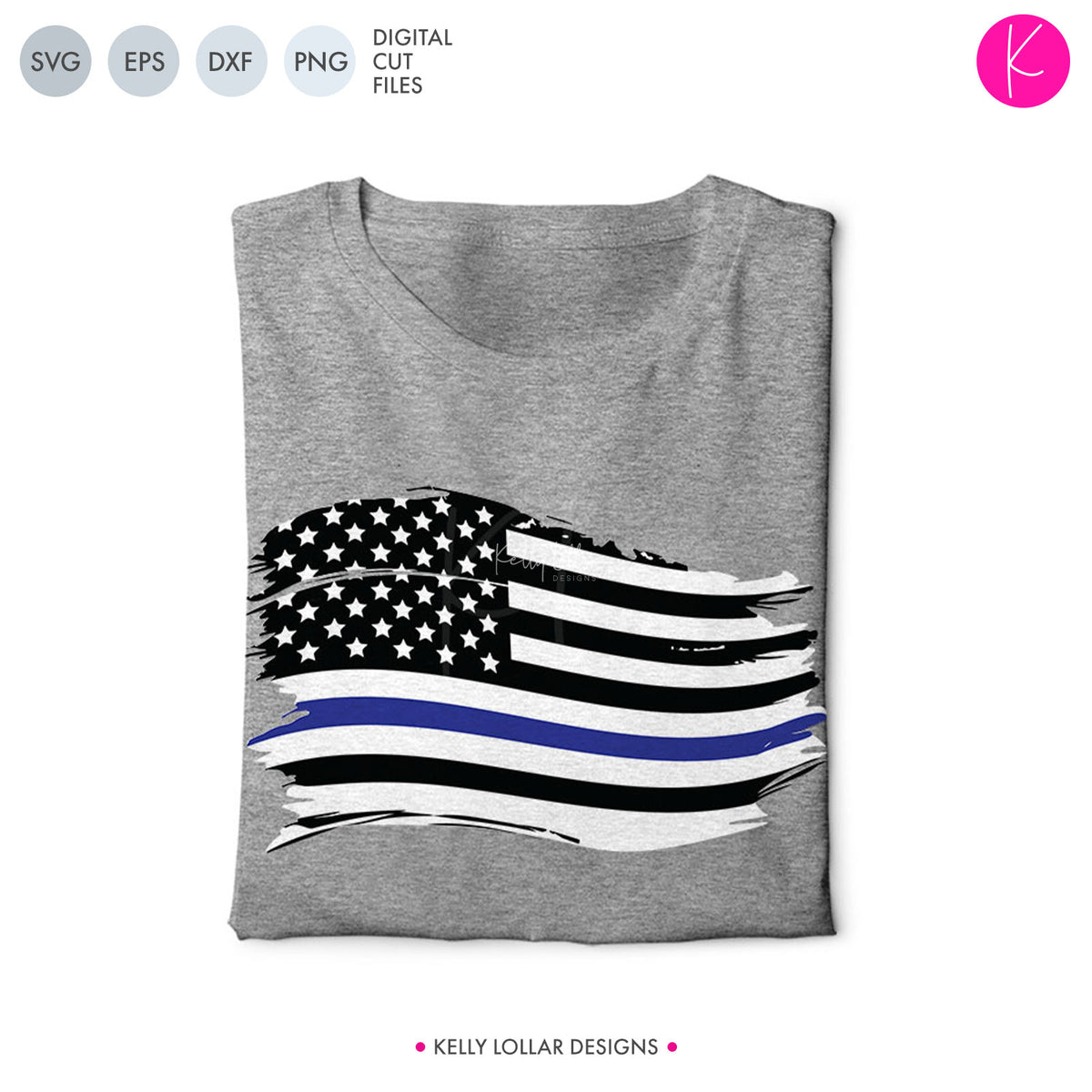 Distressed Blue Line American Flag | SVG DXF EPS PNG Cut Files