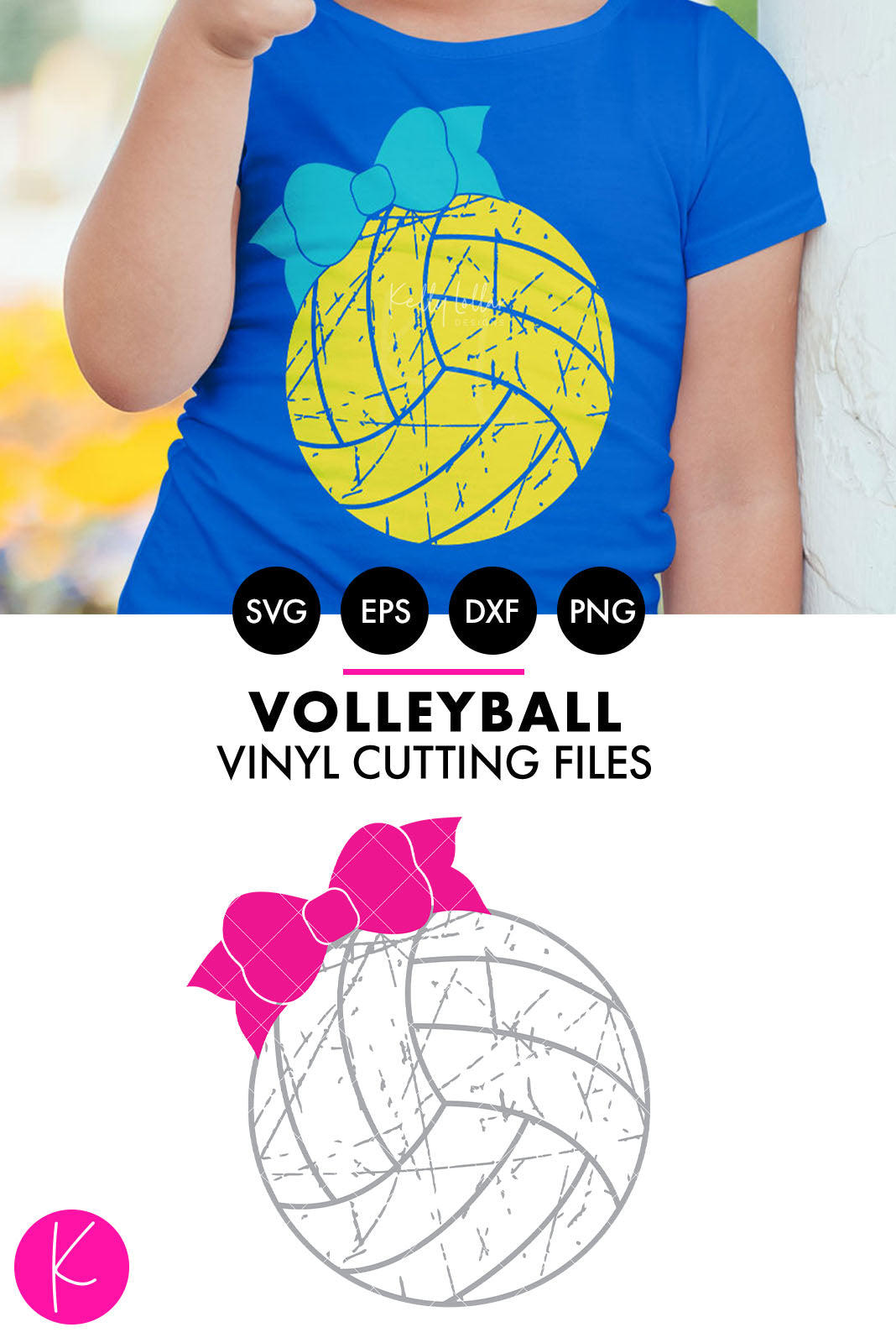 Distressed Volleyball with Bow | SVG DXF EPS PNG Cut Files