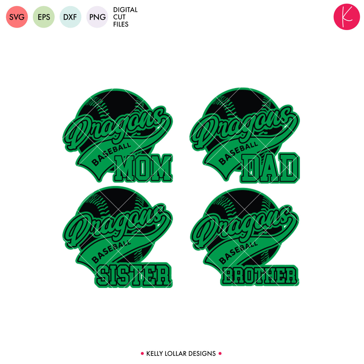 Dragons Baseball & Softball Bundle | SVG DXF EPS PNG Cut Files