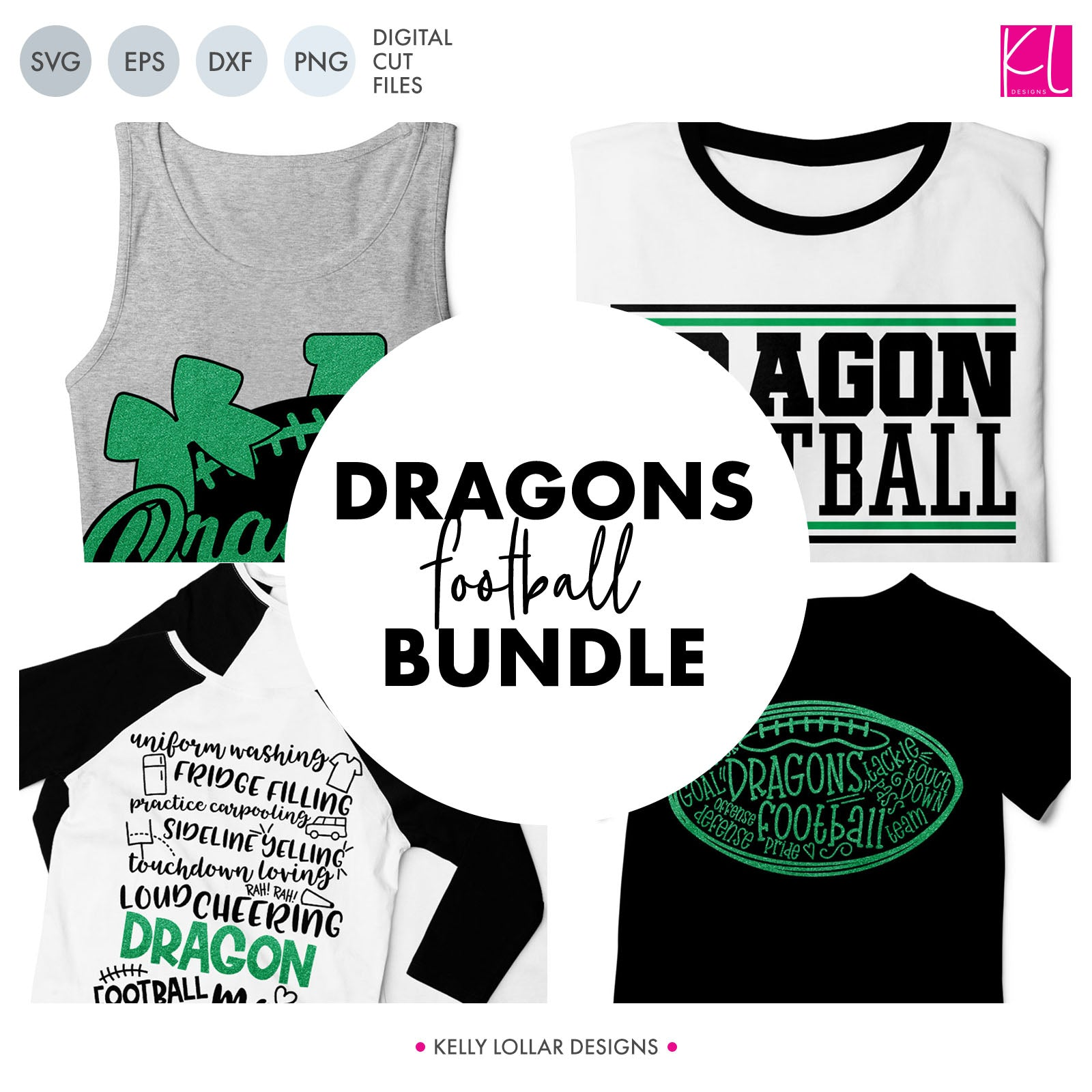 Dragons Football Bundle | SVG DXF EPS PNG Cut Files