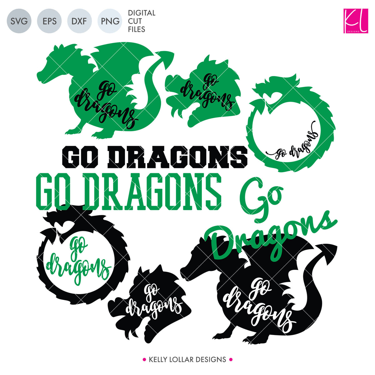 Dragons Mascot Bundle | SVG DXF EPS PNG Cut Files