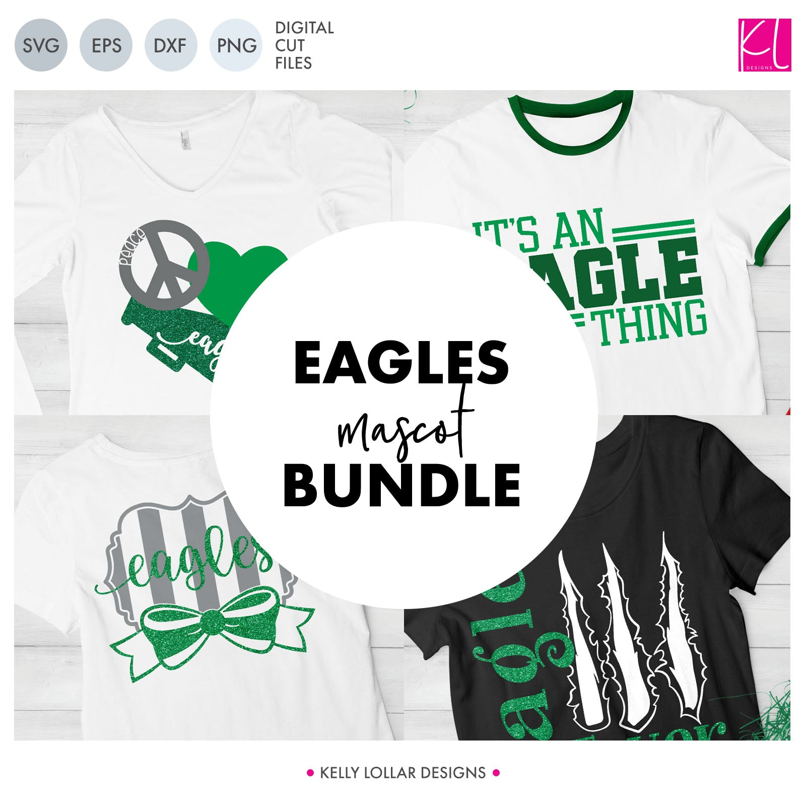 Eagles Mascot Bundle | SVG DXF EPS PNG Cut Files A perfect bundle for Eagles school spirit crafters! This set of 28 designs includes everything from cute and girly to unisex so you'll have a little something for everyone. Includes