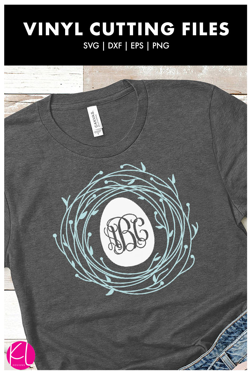 Egg and Nest Spring Monogram Frame | SVG DXF EPS PNG Cut Files