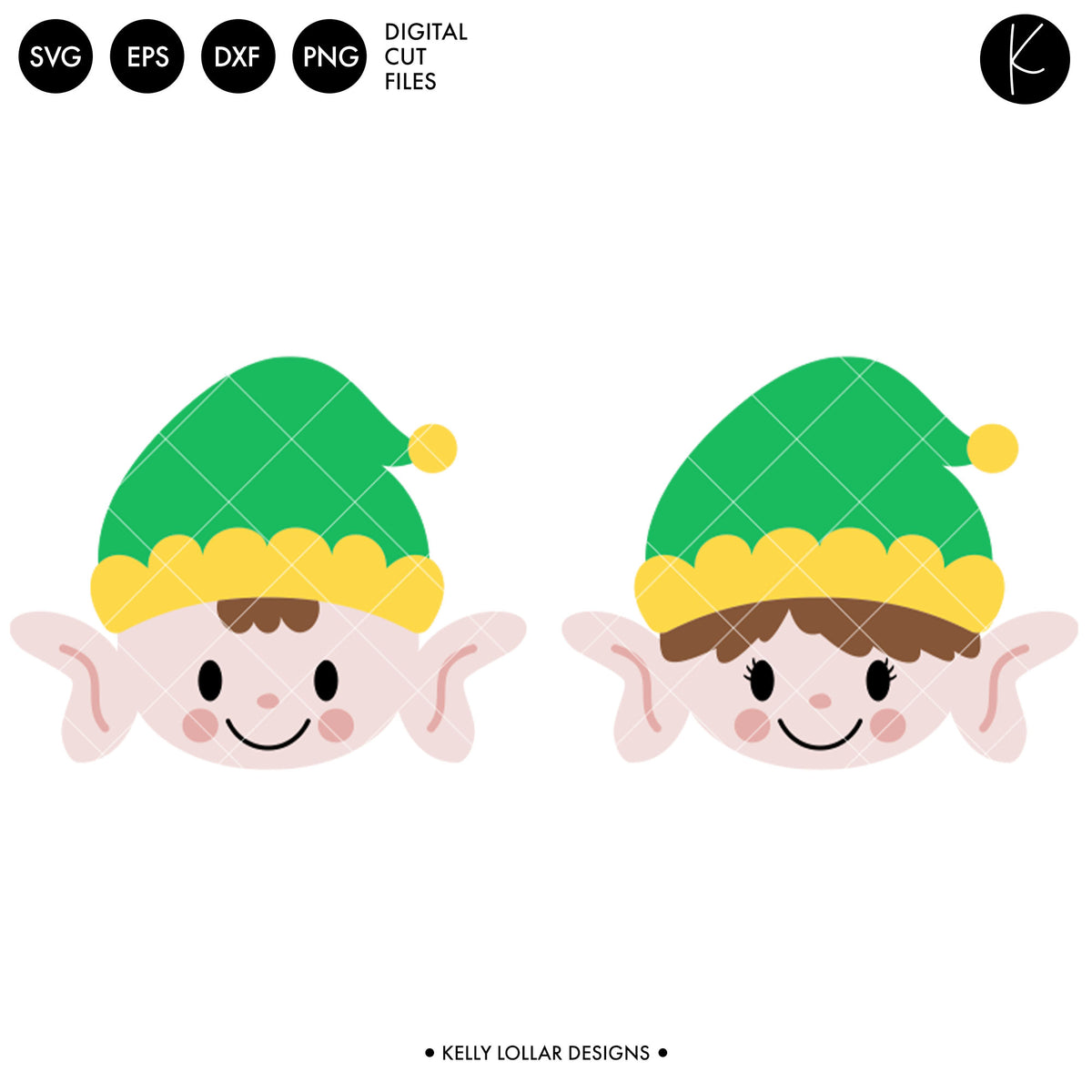 Elf Faces | SVG DXF EPS PNG Cut Files