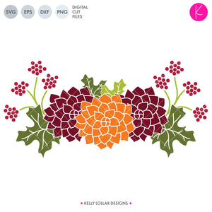 Fall Flowers svg file - Group of 3 Chrysanthemum Flowers with Leaves and Berries for Fall Home Decor or to Accent Your Autumn Design | SVG DXF PNG Cut Files