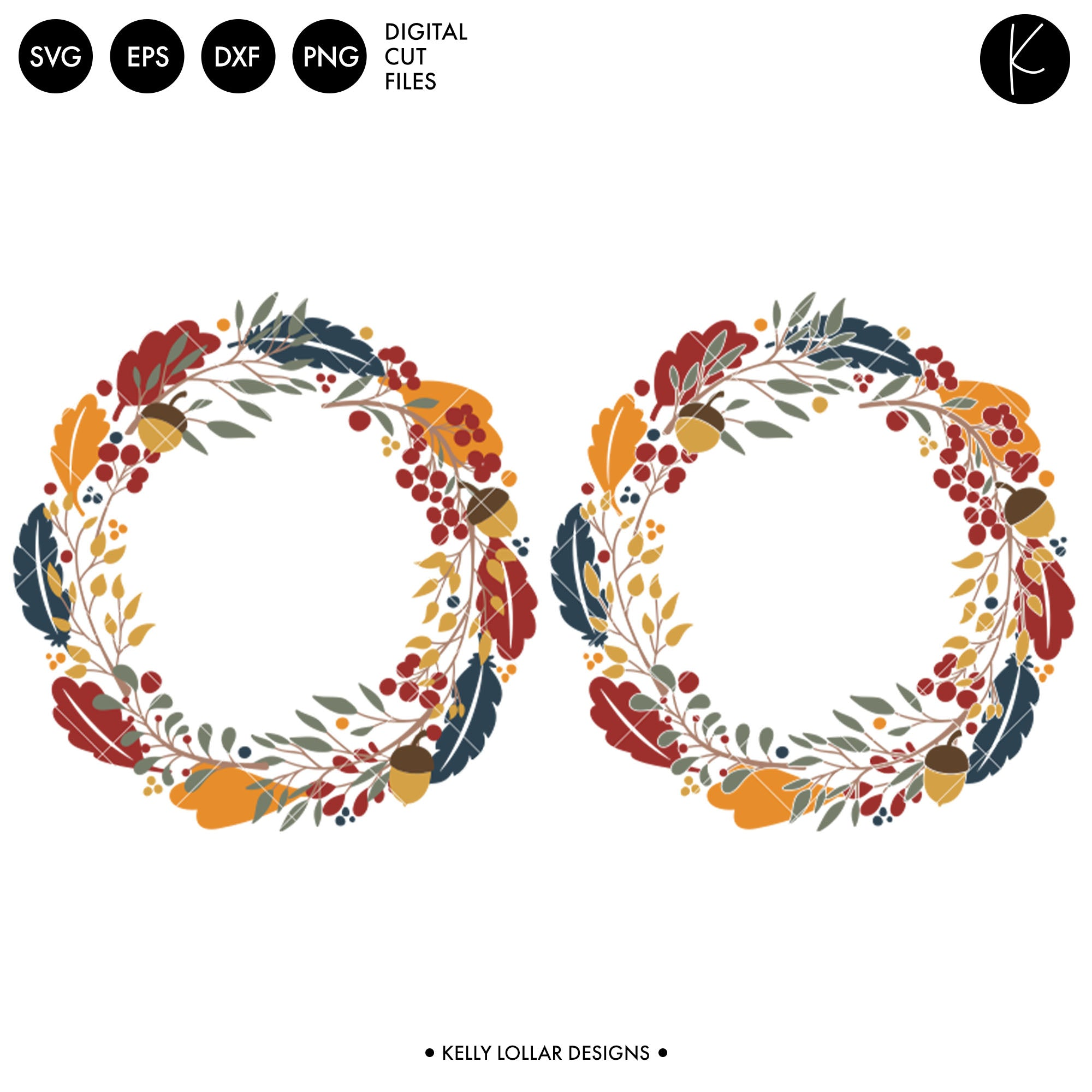 Fall Leaves Wreath Svg Dxf Eps Png Cut Files Kelly Lollar Designs