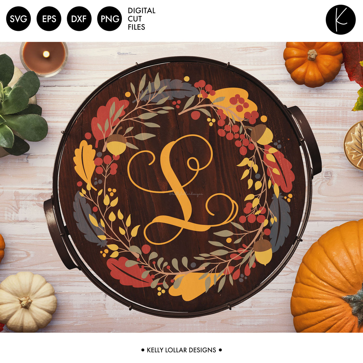 Fall Leaves Wreath | SVG DXF EPS PNG Cut Files