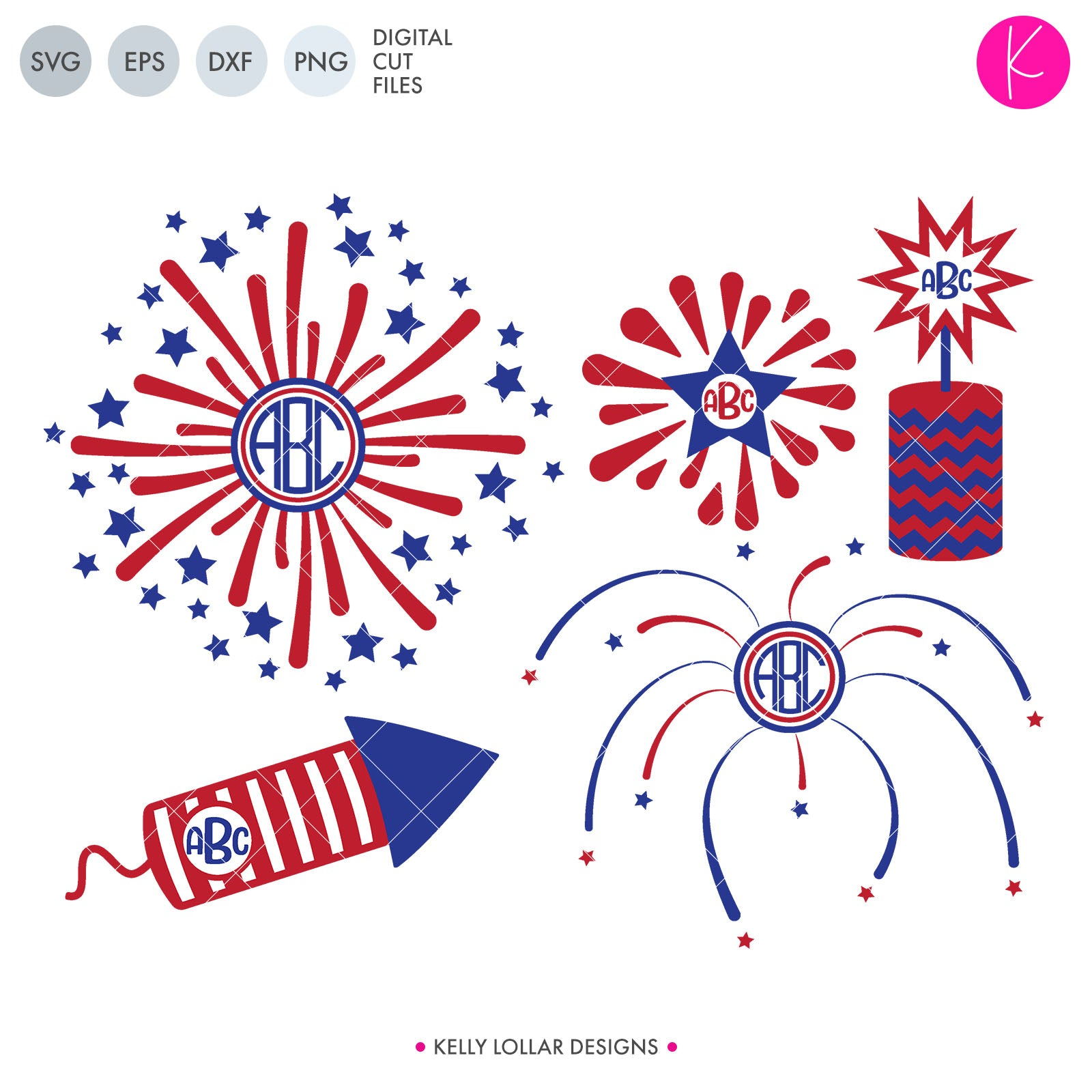 Fireworks Monogram Frame Pack | SVG DXF EPS PNG Cut Files