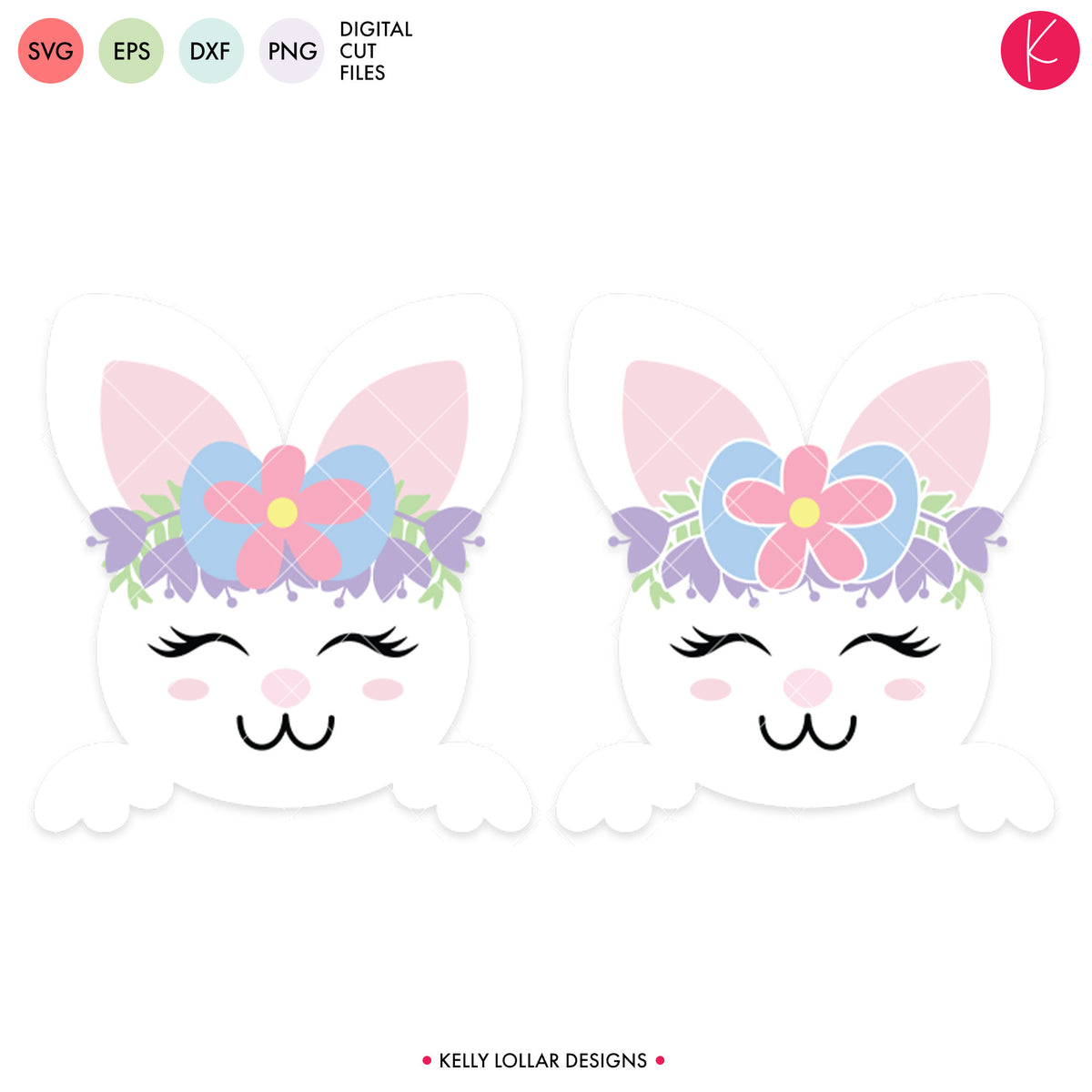 Floral Crown Easter Bunny | SVG DXF EPS PNG Cut Files