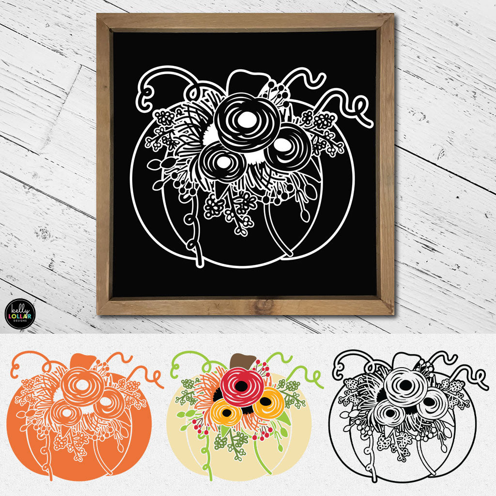 Floral Pumpkin | SVG DXF EPS PNG Cut Files