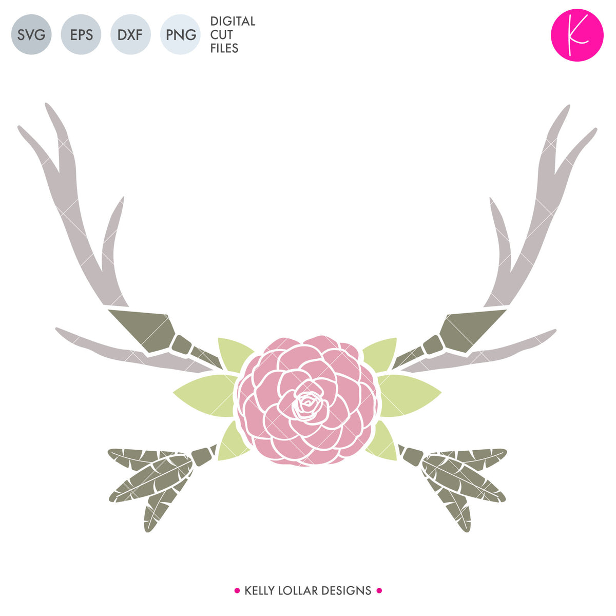 Flower and Arrow Frame | SVG DXF EPS PNG Cut Files