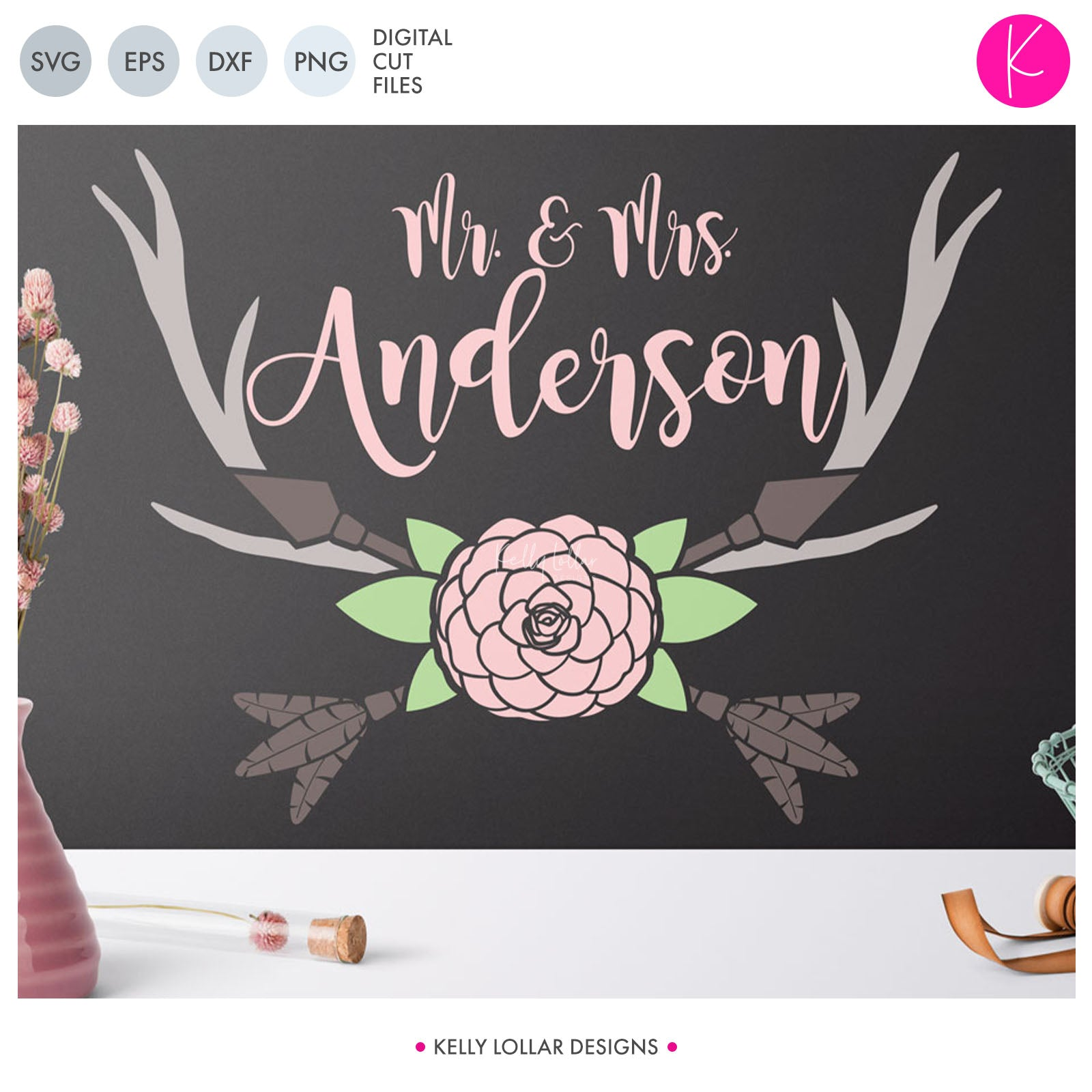 Flower and Arrow Frame | SVG DXF EPS PNG Cut Files Wide Antler Monogram with Camilla Flower, Leaves and Feather Tipped Crossed Arrows | SVG DXF EPS PNG Cut Files  This flower and arrow antler monogram svg has so many applications!