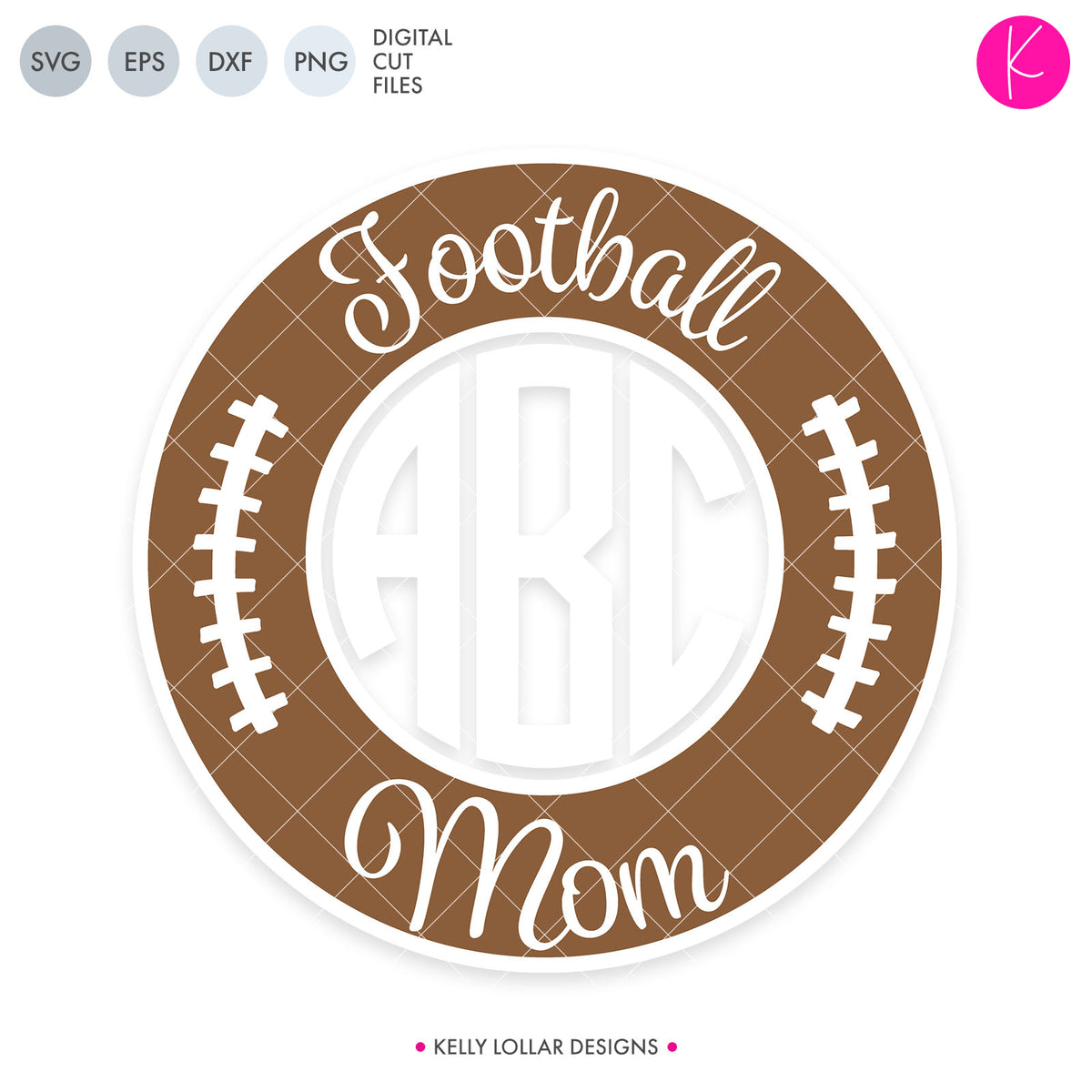 Football Mom Monogram Frame | SVG DXF EPS PNG Cut Files