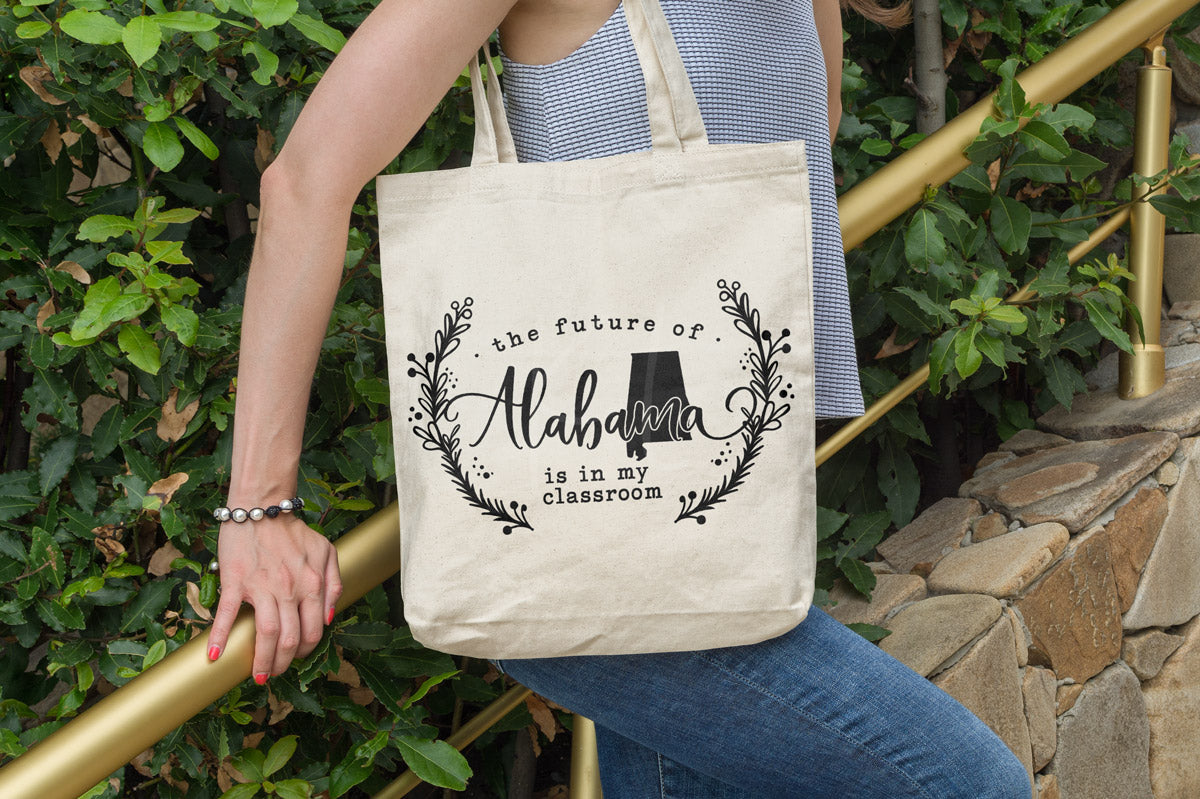 Teacher tote with the The Future of Alabama Is in My Classroom svg cut file