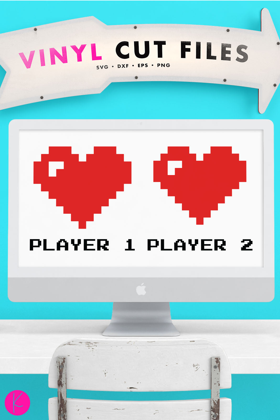 Player 1 & 2 Gamer Couple | SVG DXF EPS PNG Cut Files Bitmap Heart with Shine Mark and Player 1 / Player 2 Quotes | SVG DXF PNG Cut Files Fun, retro matching couple heart set perfect for a gaming couple. Use