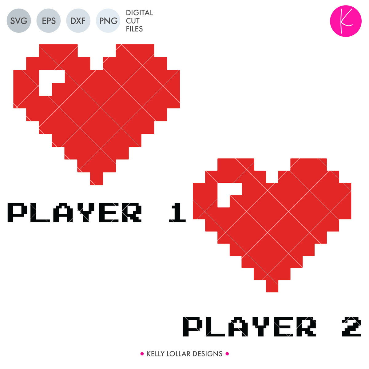 Player 1 & 2 Gamer Couple | SVG DXF EPS PNG Cut Files