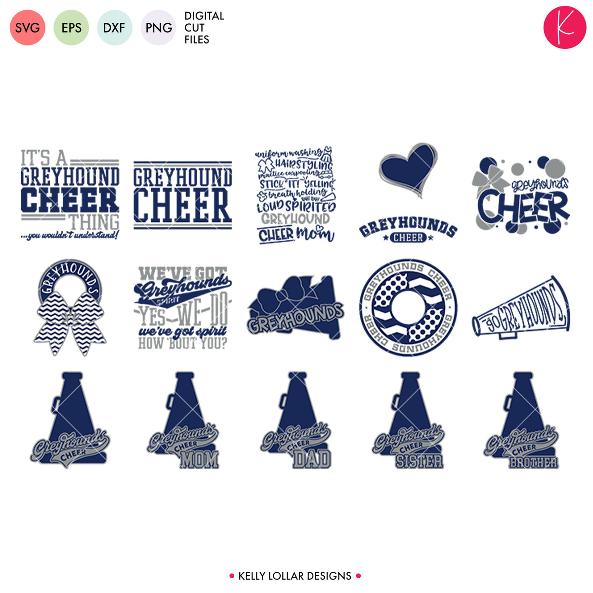 Greyhounds Cheer Bundle | SVG DXFEPS PNG Cut Files