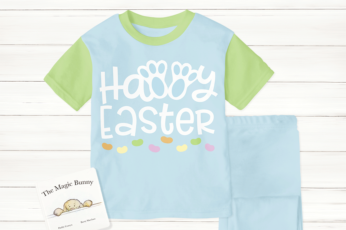 Easter pajamas made with the Happy Easter Bunny Feet svg file