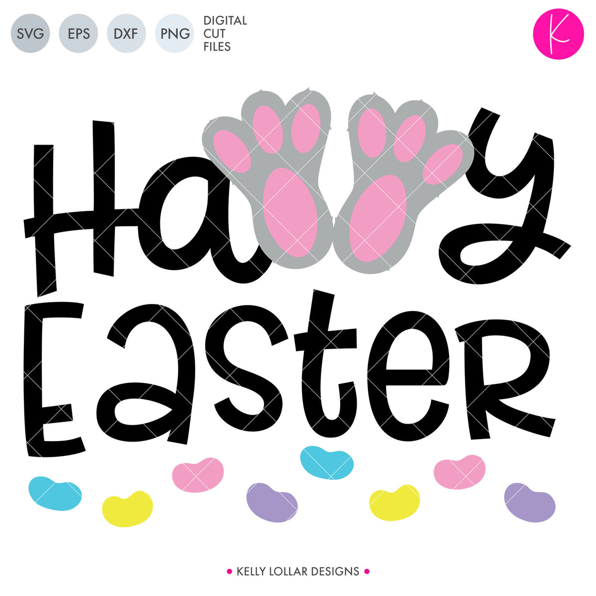 Happy Easter Bunny Feet | SVG DXF EPS PNG Cut Files