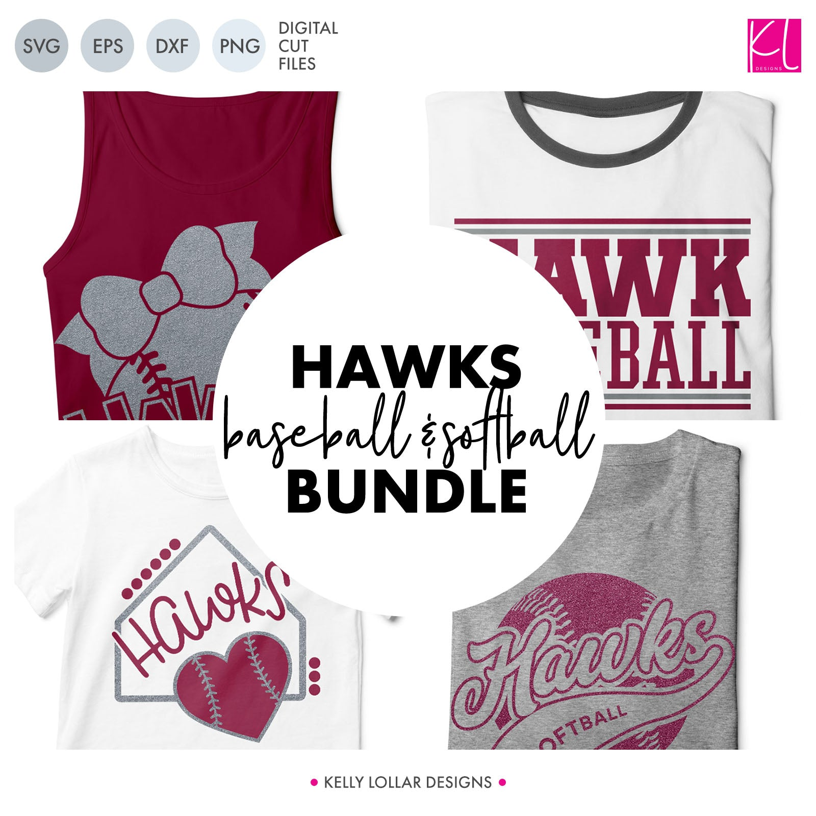 Hawks Baseball & Softball Bundle | SVG DXF EPS PNG Cut Files It's baseball and softball season, so Hawk crafter know what that means ... new spirit shirts! This fifteen-piece bundle includes a little something for everyone - from girly and cute