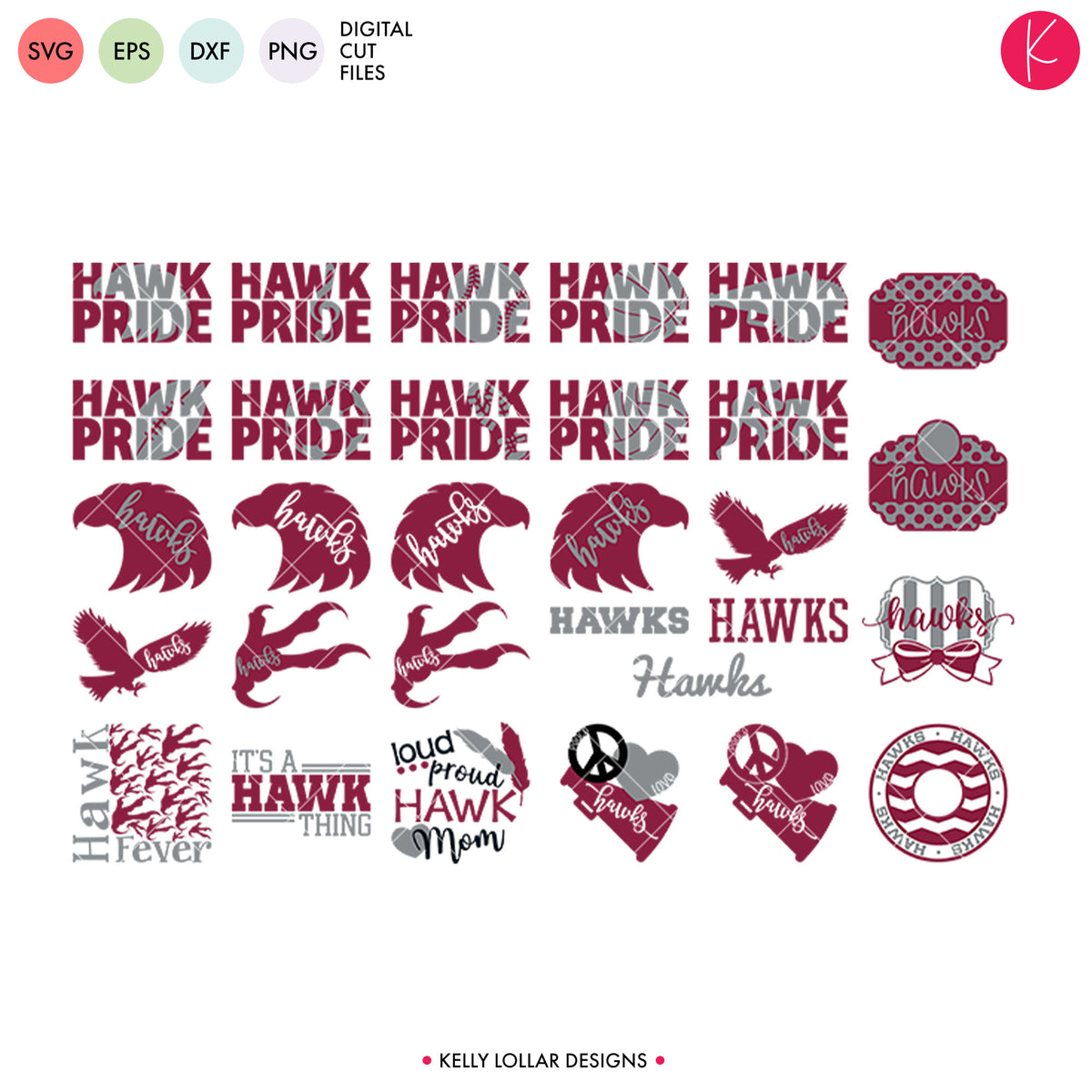 Hawks Mascot Bundle | SVG DXF EPS PNG Cut Files
