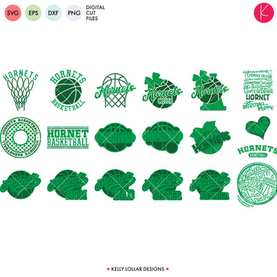 Hornets Basketball Bundle | SVG DXF EPS PNG Cut Files