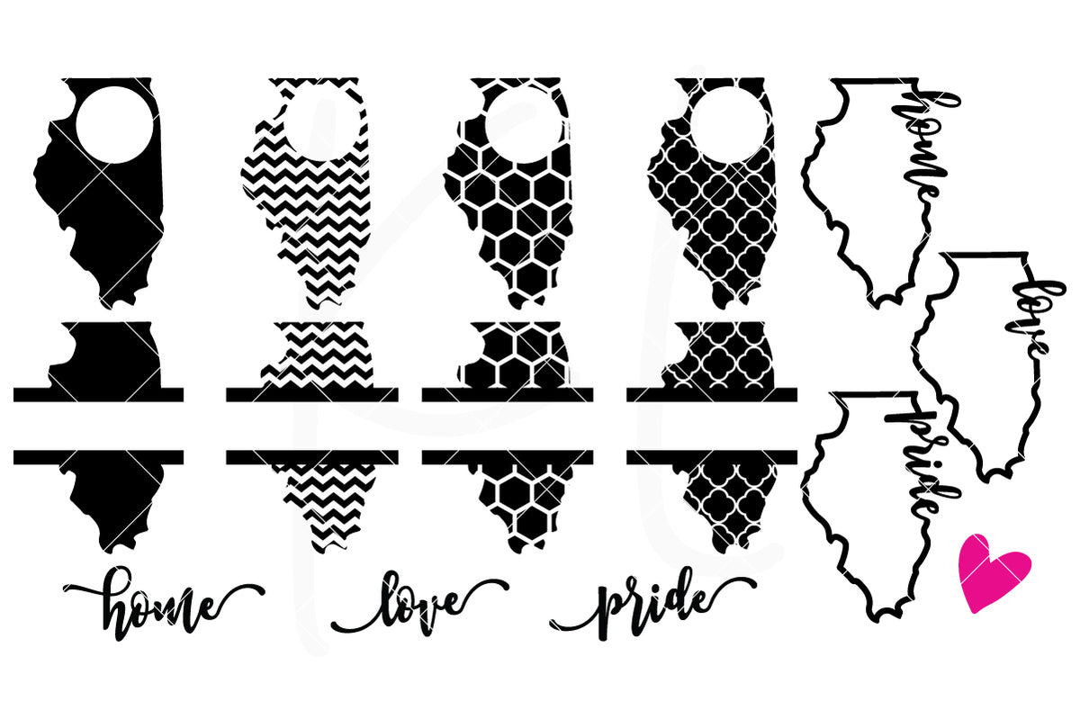 Illinois State Bundle | SVG DXF EPS PNG Cut Files