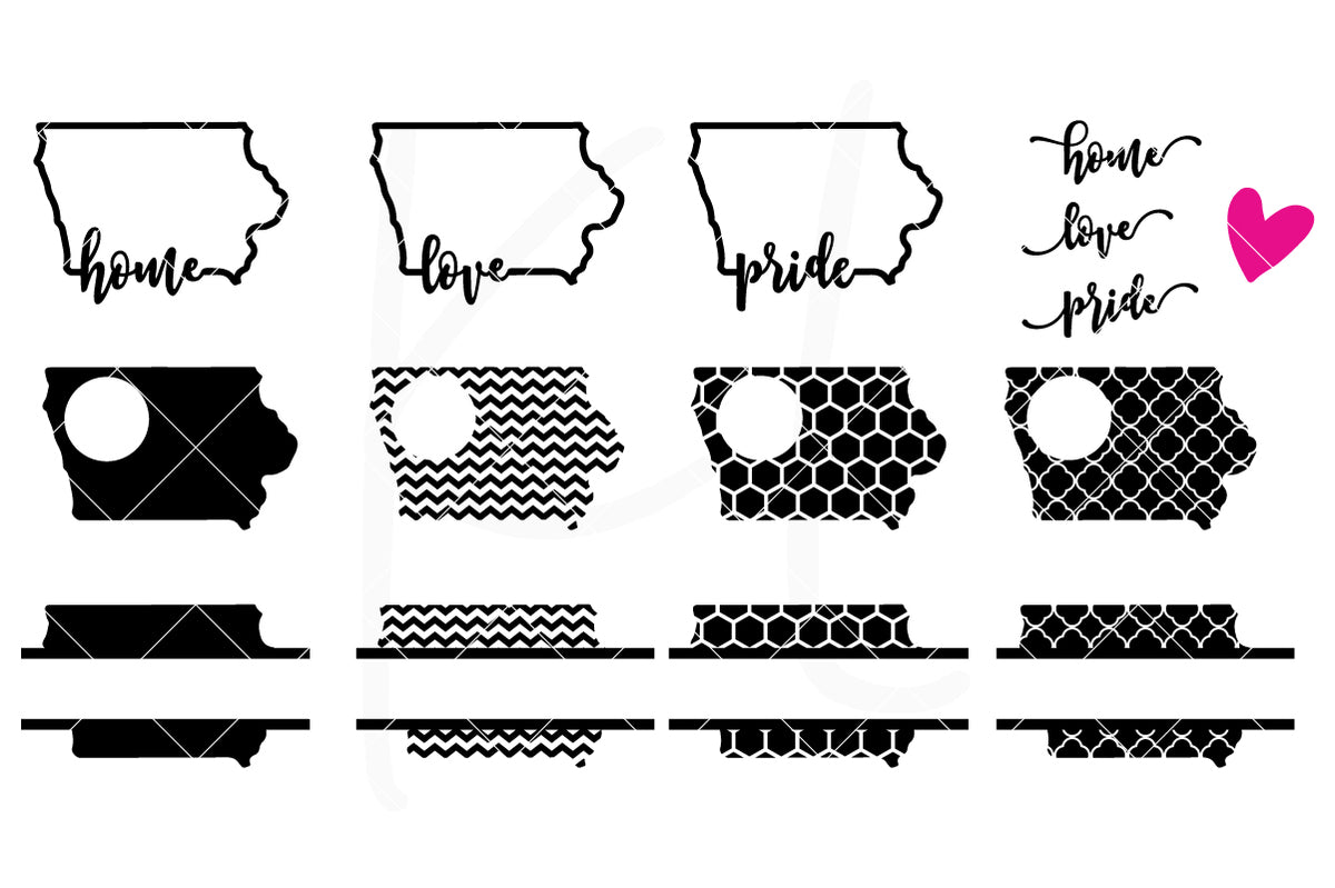 Iowa State Bundle | SVG DXF EPS PNG Cut Files