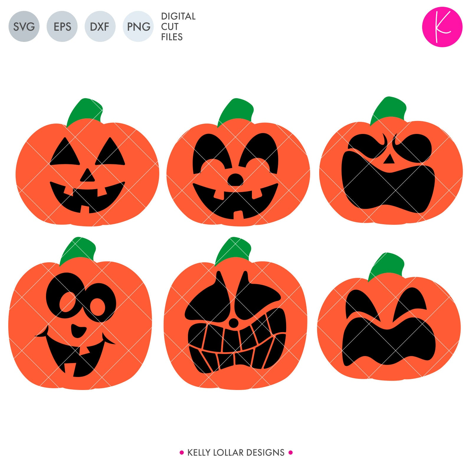Jack O' Lanterns Pack | SVG DXF EPS PNG Cut Files Set of 6 Jack o' Lanterns for Halloween Projects | SVG DXF EPS PNG Cut Files Embellish your next Halloween project with these tradition, funny and scared jack o' lanterns.